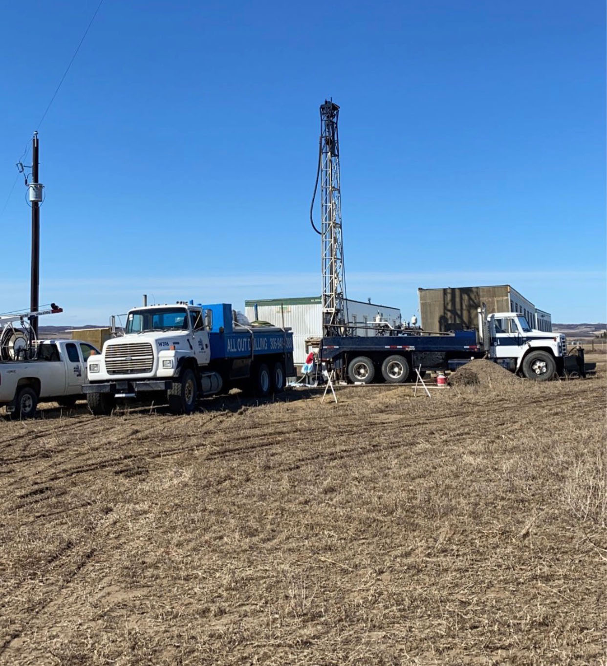 Photo of the All Out Drilling rigs decommissioning an old well in Lloydminster, Saskatchewan